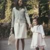 """待ちに待った入学式。式典に合わせてママは、清潔感のあるネイビーのツィードジャケットに白のワンピースで上品に! キッズは、サクラ色のレースワンピースでキュートな雰囲気に♪ [su_box title=""""Ladi […]"""